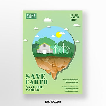 Simple ring mirror protects green life theme poster Template