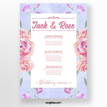 simple watercolor fresh warm wedding menu template Template