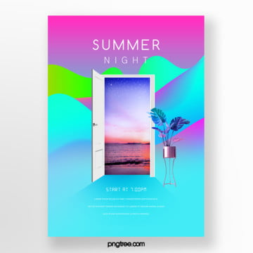 three dimensional color gradient door frame picture in picture poster Template