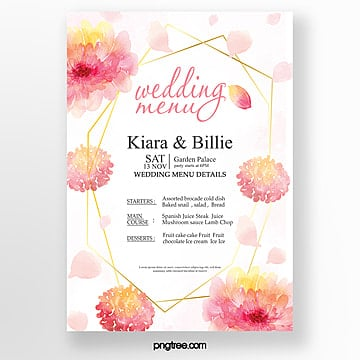 watercolor pink simple fresh warm wedding menu template Template