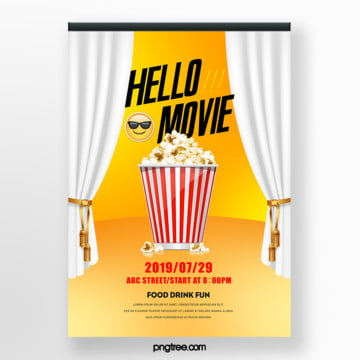 white curtain cinema popcorn film festival poster Template