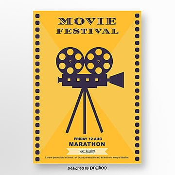 yellow retro projector film festival poster Template