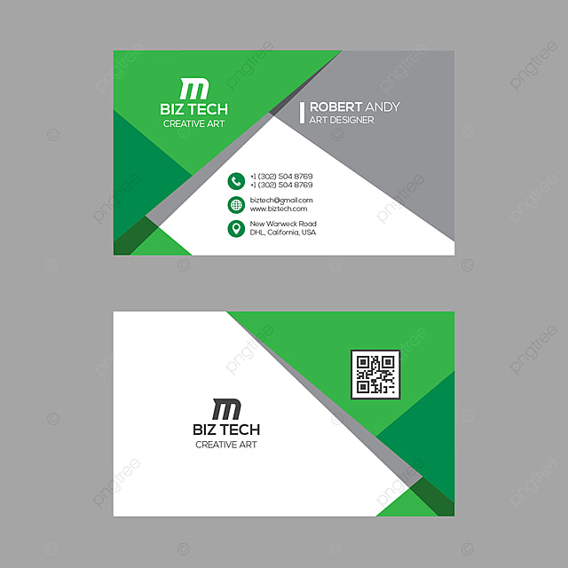 modern business card template green colors Template for Free