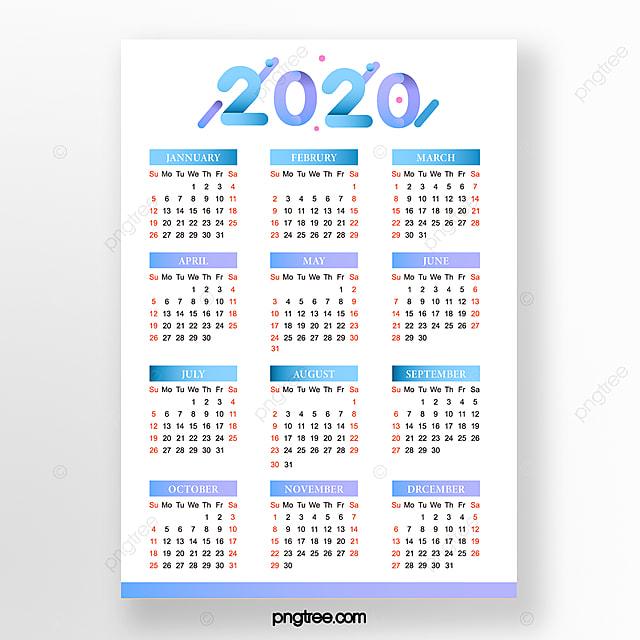 Modele De Calendrier 2020.Calendrier 2020 Simple Degrade De Bleu Modele De