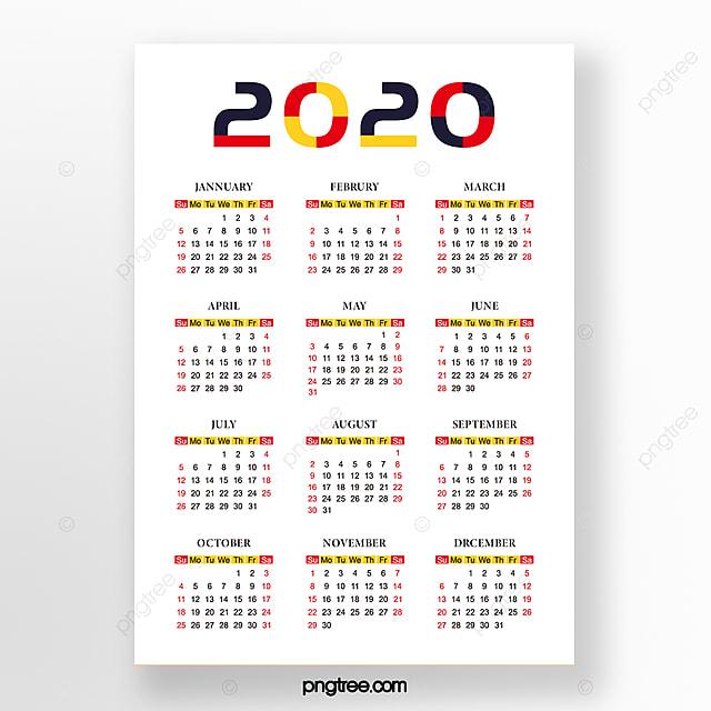 Bu 2020 Calendar White Minimalist 2020 Calendar Template for Free Download on Pngtree