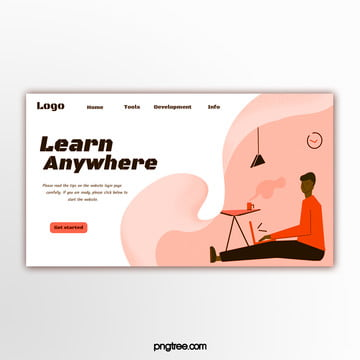 simple orange illustration style education website banner Template