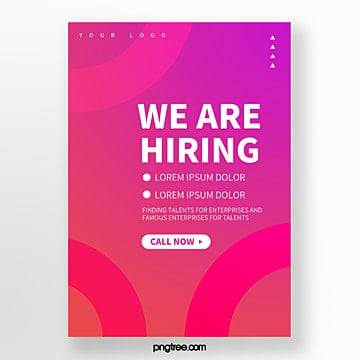 abstract gradient round geometry we are hiring poster Template