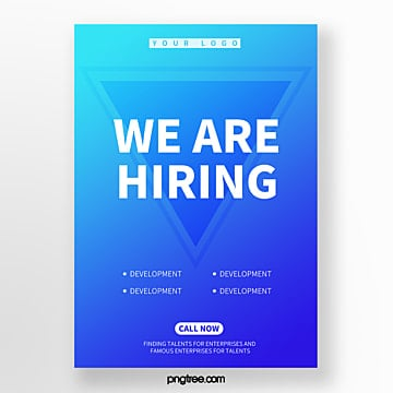 abstract polygonal geometric color recruitment poster Template