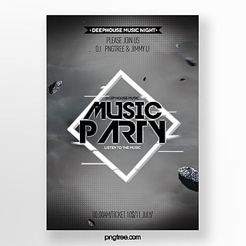 black fashion gradient fault style music party poster Template