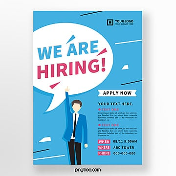 blue creative hand drawn recruitment poster Template