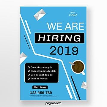 blue creative vector recruitment poster Template