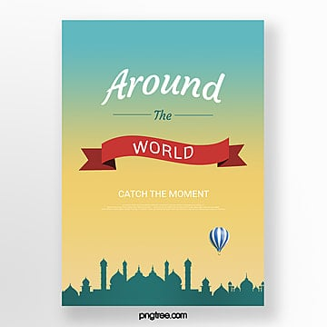 blue yellow gradient building travel poster Template
