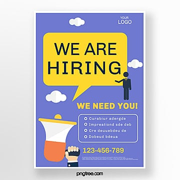 color creative vector recruitment poster Template
