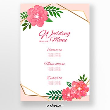 creative flower border wedding menu template Template