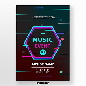 dark music festival fault style event poster Template