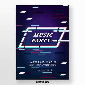 Deep color creative fault style music festival poster Template
