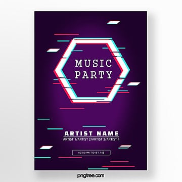 deep color fault style music festival poster Template