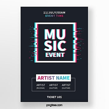 Fault square twisted music festival event poster Template