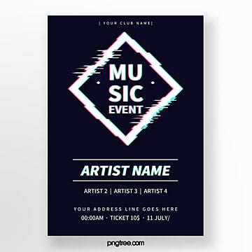 fault style music festival geometry defect activity poster Template
