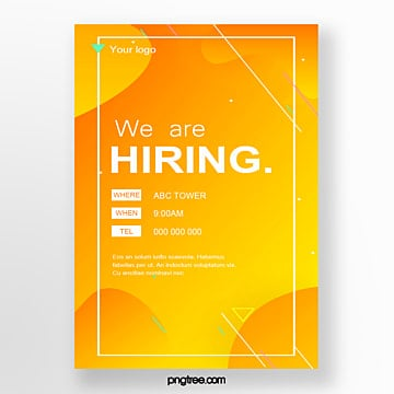 gradient fluid company recruitment poster Template