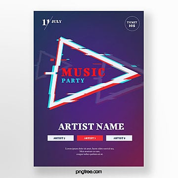 Gradient music party poster Template