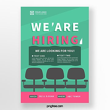 green creative hand drawn recruitment poster Template