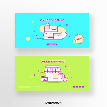 hand drawn cartoon blue green business spread cash register shop online shopping coupon set illustration Template
