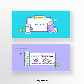 hand drawn cartoon blue purple commercial promotion mobile phone truck online shopping coupon set illustration Template
