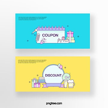 hand drawn cartoon blue yellow business activity cake gift box online shopping coupon set illustration Template
