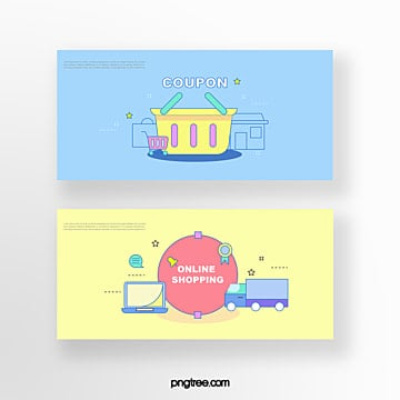 hand drawn cartoon blue yellow business offer shopping basket computer truck online shopping coupon set illustration Template