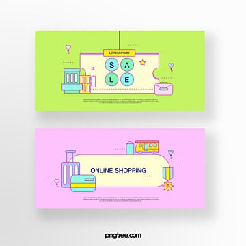 hand drawn cartoon green pink commercial promotion commercial street briefcase suitcase online shopping coupon set illustration Template