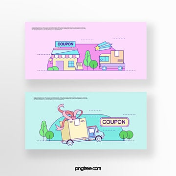 hand drawn cartoon pink blue business promotion gift car shop online shopping coupon set illustration Template