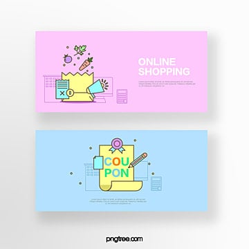 hand drawn cartoon pink blue business spread shopping bag shopping list online shopping coupon set illustration Template