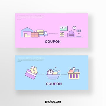hand drawn cartoon pink blue commercial delivery home credit card online shopping coupon set illustration Template