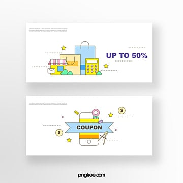 hand drawn cartoon white yellow commercial promotional shopping bag shopping street mobile online shopping coupon set illustration Template