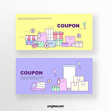 hand drawn cartoon yellow purple business gift pile balloon small truck online shopping coupon set illustration Template