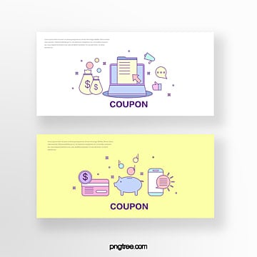 hand drawn cartoon yellow white business computer piggy bank online shopping coupon set illustration Template