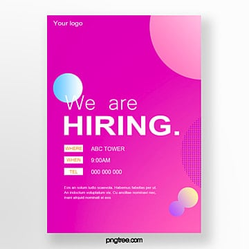 hand painted gradient color recruitment poster Template