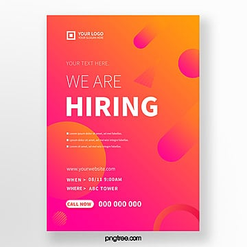 high saturated color gradient recruitment poster Template