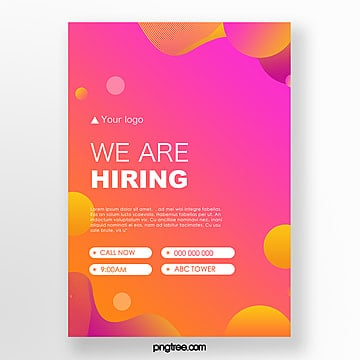 high saturated gradient color geometric decoration recruitment poster Template