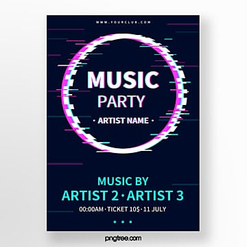 minimalist fault style noise shape music festival event poster Template