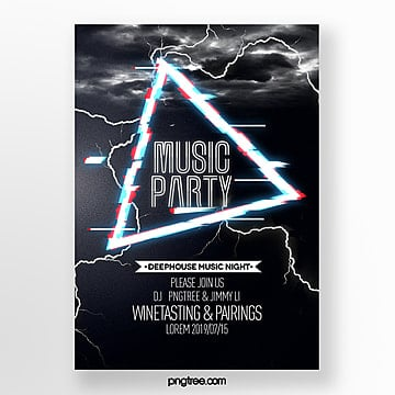 modern fashion cool music party lightning style poster Template