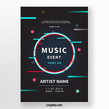 music festival fault style event poster Template