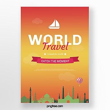 orange gradient building travel poster Template