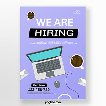 purple creative hand drawn recruitment poster Template