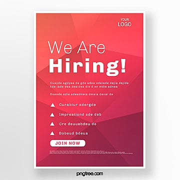 red gradient high saturation recruitment poster Template