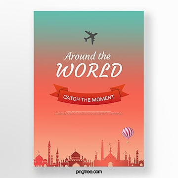 red green gradient building travel poster Template