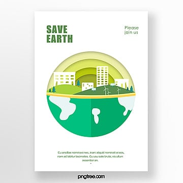 Simple and fresh paper cut style green environmental theme poster Template
