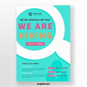 simple blue creative recruitment poster Template