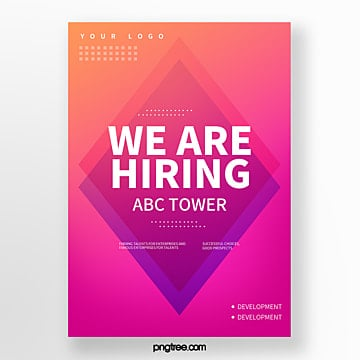 simple gradient geometric company recruitment poster Template